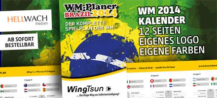 WM 2014 Planer mit Firmenwerbung